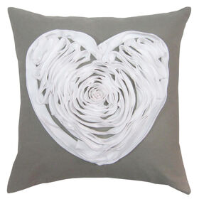 Picture of Gray Ruffle Heart Pillow- 18-in