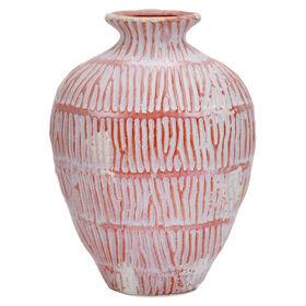 Picture of Ceramic Tribal Red Stripe Vase- 12 x 9 x 5-in
