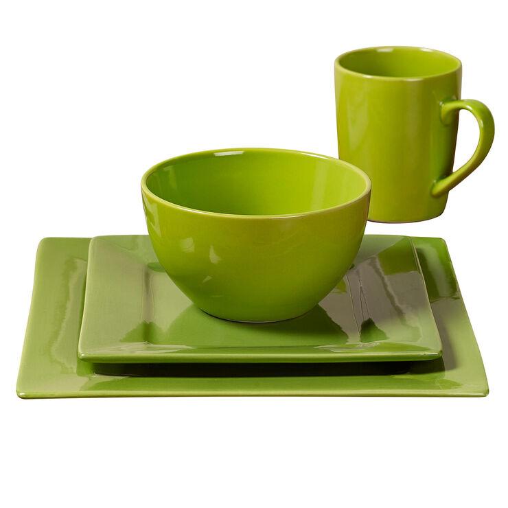Green Square Ceramic Dinnerware 16 Piece Set