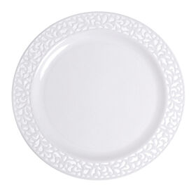 Picture of 10.25-in White Pierced Round Plates - set of 10