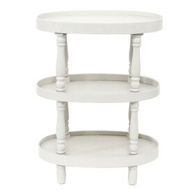 Picture of White 3 Tier Oval Wooden Table 33H