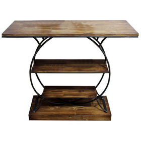 Picture of 3-Tier Round Base Wood & Metal Shelves
