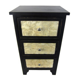 Picture of Black Cabinet with Three White Shell Drawers