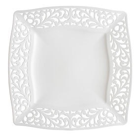Picture of White Pierced Square Dinner Plates - set of 10