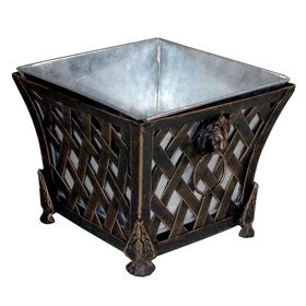 Picture of 7-in. Iron Brush Gold Square Planter
