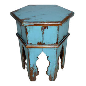 Picture of Turquoise Blue Wooden Distressed Hexagon Side Table- 19 x 22-in