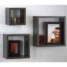 Picture of Wood Grain Black Cubes- Set of 3