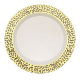 Picture of Ivory Plate 7.5 with Gold Cutout Design- Set of 10