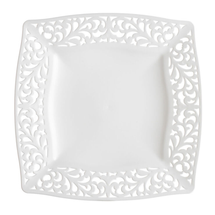 White Pierced Square Side Plates - set of 10