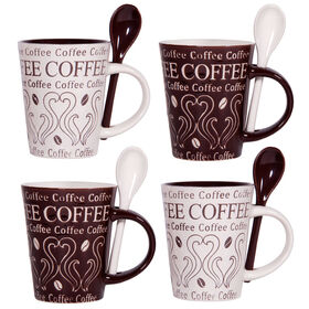 Picture of Striped Brown and Cream Coffee Cup with Spoon, set of four
