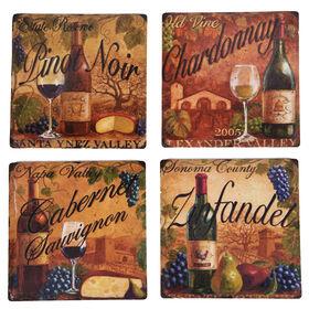 Picture of Square Ceramic Wine Label Coaster- Set of 4