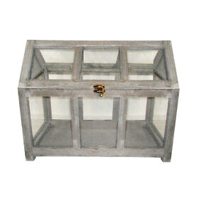 Picture of Rectangular Natural Wooden Glass Terrarium  16-in