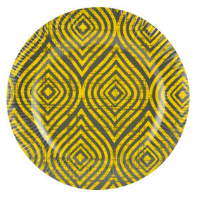 Picture of Yellow and Gray Melamine Salad Plate - Geometic