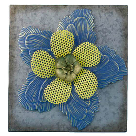 Picture of Galvanized Layered Flower Wall Art 15-in
