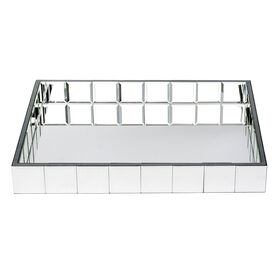 Picture of Silver Mirrored Rectangle Tray- 24 x 18-in