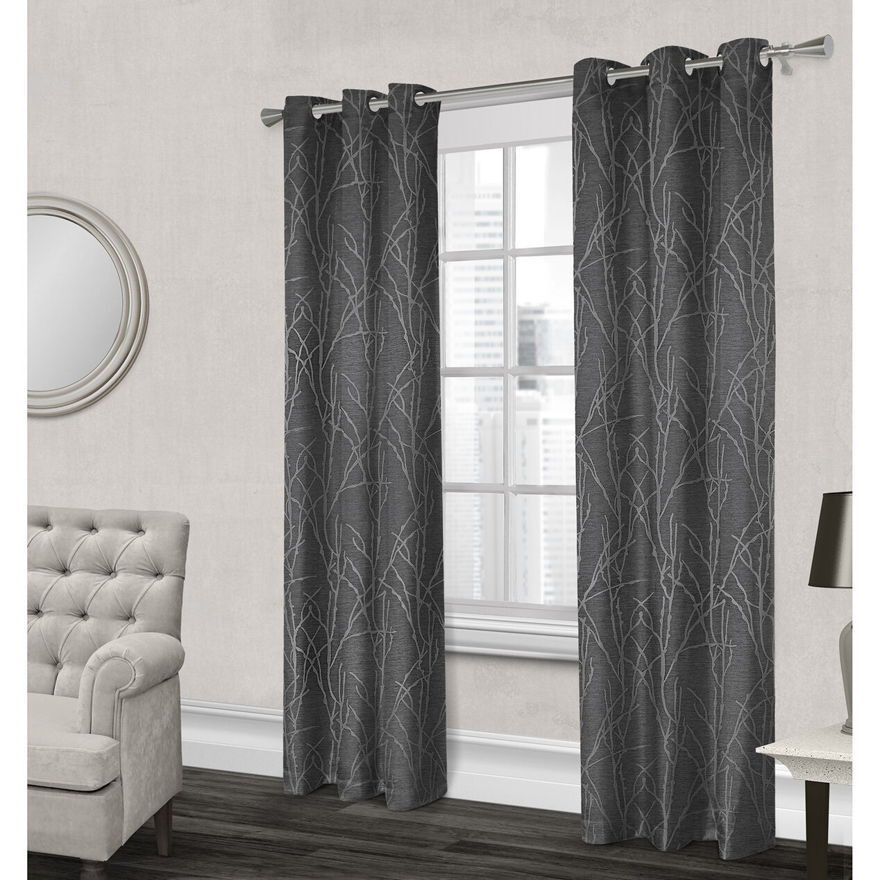 Finesse Textured Grommet Curtain Panel Gray 96 In At Home