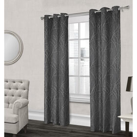 Picture of Finesse Textured Grommet Curtain Panel- Gray 96-in