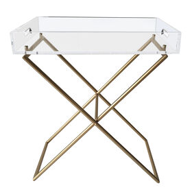 Picture of Gold and Acrylic Metal Tray Table