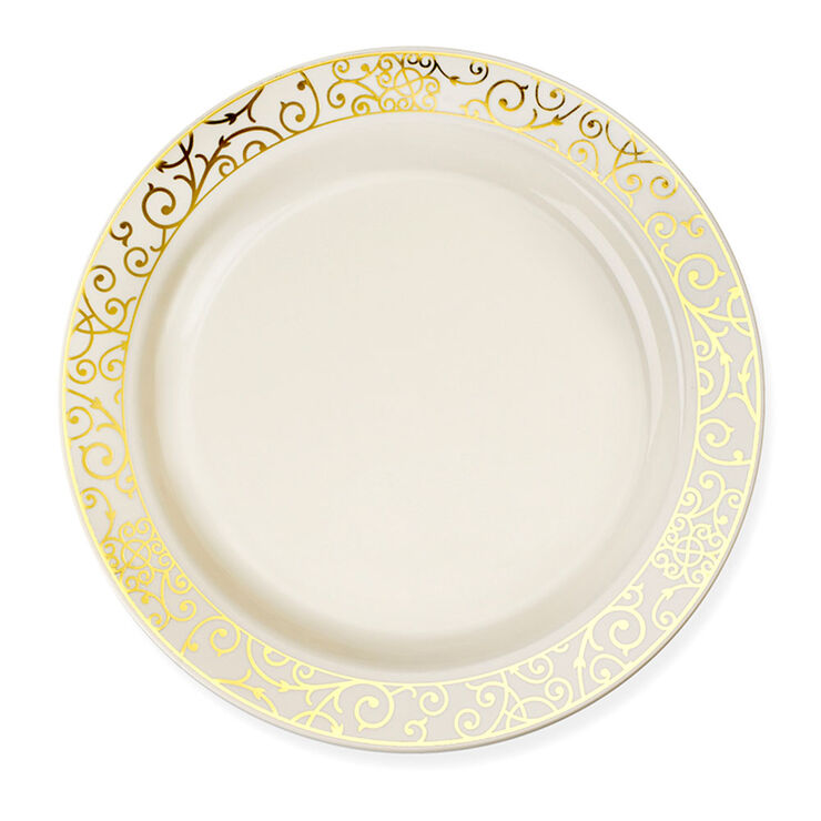 7.5-in Venetian Gold and Bone Side Plates - set of 10