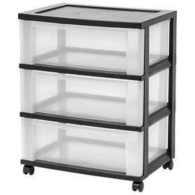 Picture of 3 Drawer Storage Cart with Wheels - Black