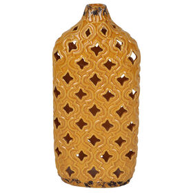 Picture of Yellow Quatrefoil Ceramic Cutout Vase - 14.7 in.