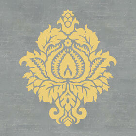 Picture of 22 X 22-in Gray and Yellow Damask Studio Art