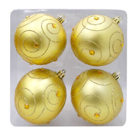 Picture of Gold Gem Swirl Ornaments- Set of 4