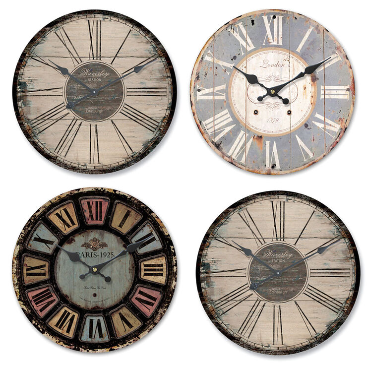 12-in Bright Distressed Clock