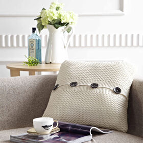 Picture of Off White Knit Pillow with Buttons- 18 in.