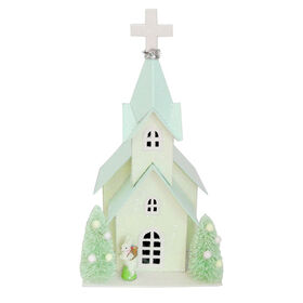 Picture of Green LED Church with Rabbit