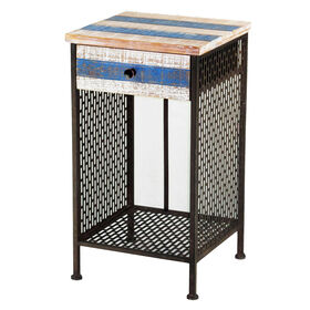 Picture of Wood & Steel Blue-Stripe One-Drawer Table