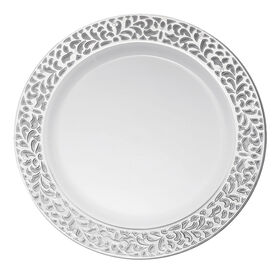 Picture of White Dinner Plates with Silver Pierced Detail, 7.5-in., Set of 10