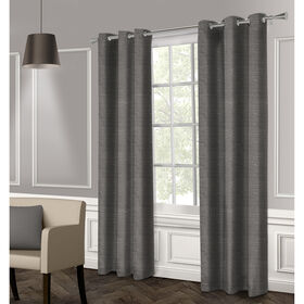 Picture of Raw Silk Textured Grommet Curtain Panel- Black Pearl 96-in