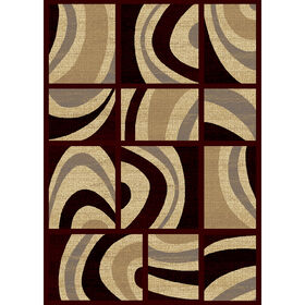 Picture of B147 Red Panache Motion Rug- 5x7 ft