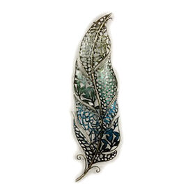 Picture of 6 X 21-in Cool Color Filigree Feather