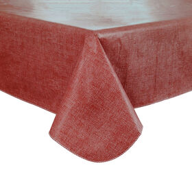 Picture of Brick Red Woven Straw Vinyl Tablecloth