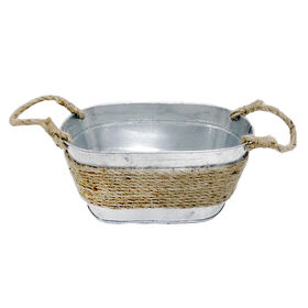 Picture of Metal Tub with Jute Rope, Small