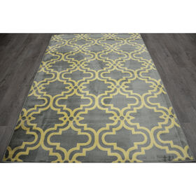 Picture of Blue and White Trellis Rug 5 X 7 ft
