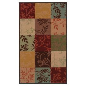 Picture of Leafy Block Print Accent Rug 17 X 27-in