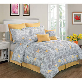 Picture of Gray and Yellow Forest Bird Comforter Set King- 8 Piece