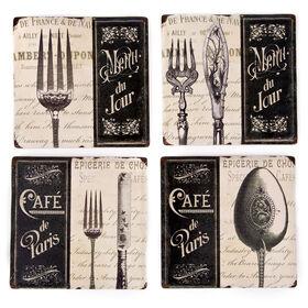 Picture of Square Ceramic Cafe Paris Coaster- Set of 4