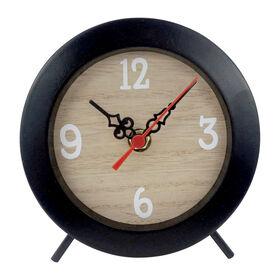 Picture of Black Woodgrain Round Clock, 5.25-in.