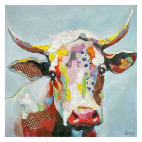 Picture of 35 X 35-in Bright Cow Head Gallery Art