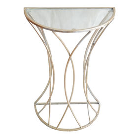 Picture of Glam Curve Metal Glass-Top Plant Stand