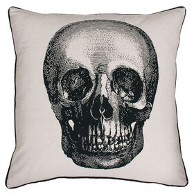 Picture of Black and White Skull Pillow- 18 x 18-in