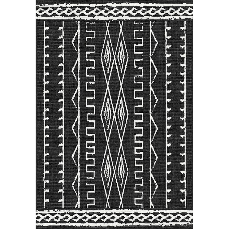 E146 Black and Ivory Vertical Helka Rug- 3x5 ft.