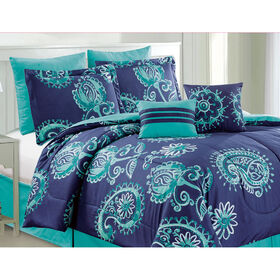 Picture of Blue and Aqua Willa Comforter Set Twin- 6 Piece