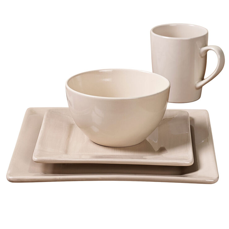16-Piece Square Ceramic Dinnerware Set, Taupe
