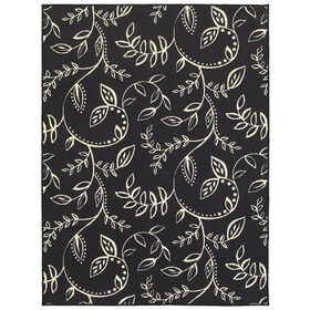 Picture of E144 Black and White Leaves Rug