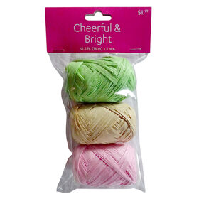 Picture of Green Pink and Natural Raffia 3 Pack